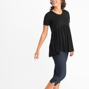 Agnes & Dora S Solid Black Muse Tunic Top Tee New
